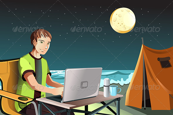 Man Camping using Laptop - People Characters