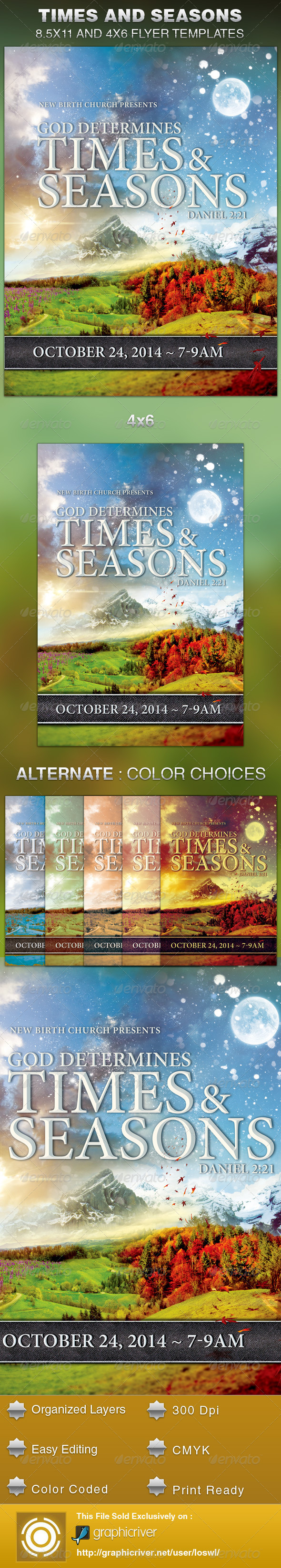 God Determines Times And Seasons Church Flyer - Church Flyers