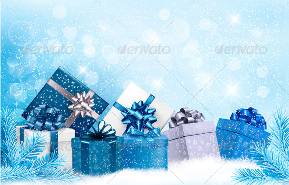 Christmas Blue Background with Gift Boxes and Snow - Christmas Seasons/Holidays