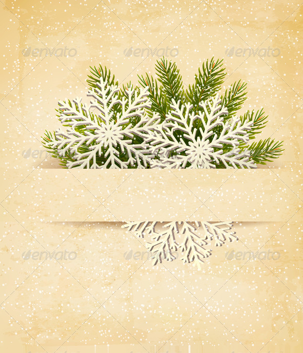 Christmas Retro Background with Tree Branches. - Christmas Seasons/Holidays
