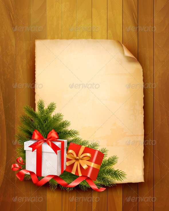 Christmas Background with Red Gift Boxes - Christmas Seasons/Holidays