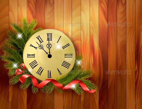 Holiday Background with Tree Branches and Clock - Christmas Seasons/Holidays