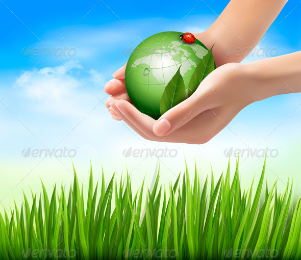 Green World and Leaf have Love Bug in Hands - Nature Conceptual