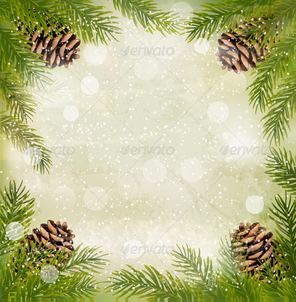 Christmas Retro Background with Christmas Tree - Christmas Seasons/Holidays