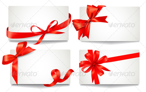 Set of Gift Cards with Red Gift Bows. - Christmas Seasons/Holidays