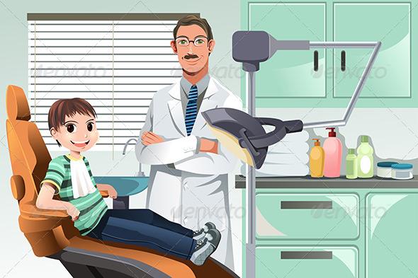 Kid in Dentist Office - Health/Medicine Conceptual