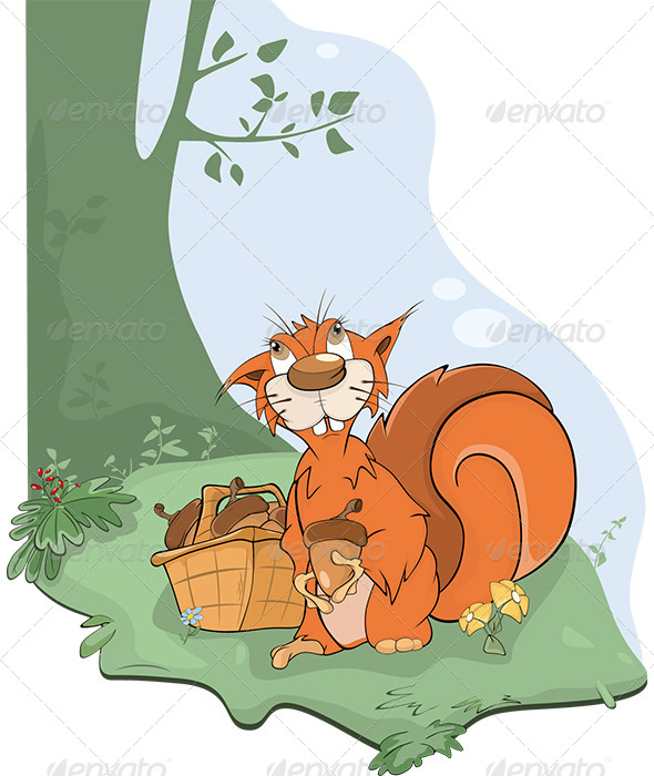 The Squirrel and Acorns Cartoon - Animals Characters