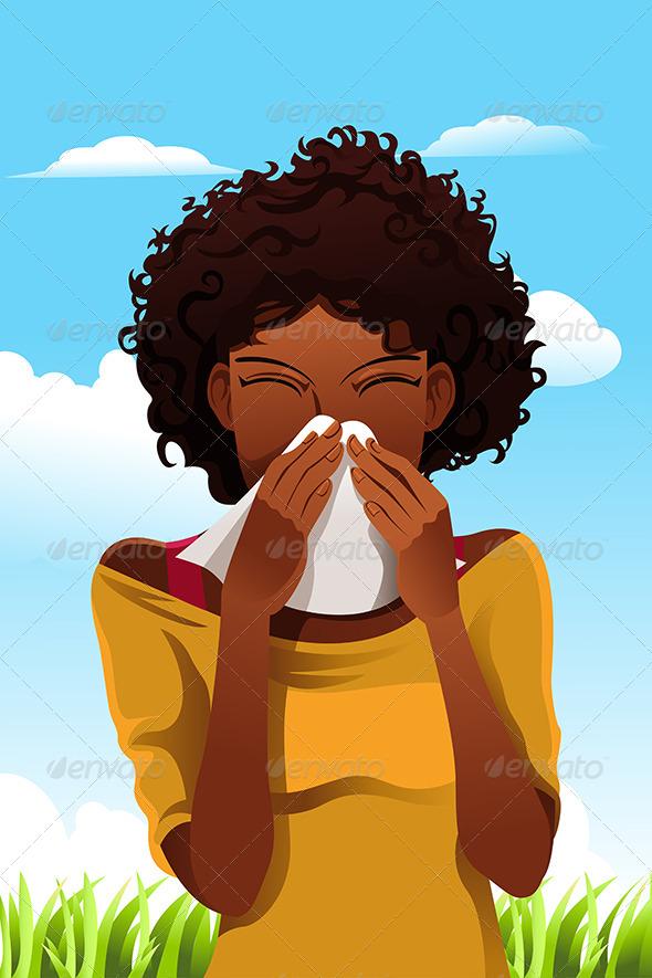 Sneezing Woman - Health/Medicine Conceptual