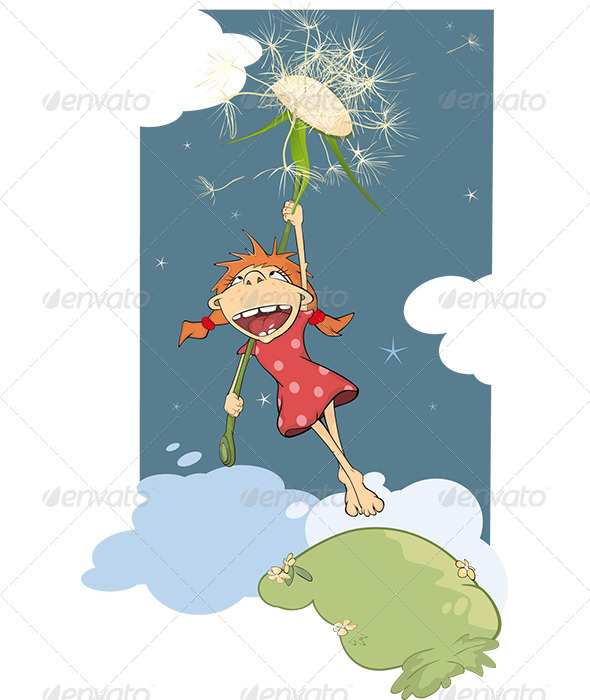 The Girl and a Dandelion Cartoon - Birthdays Seasons/Holidays