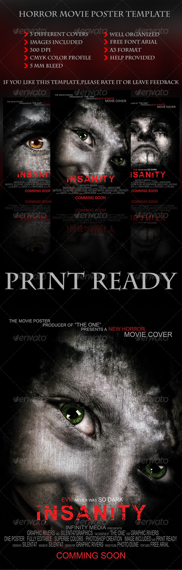 Horror Movie Poster Template - Miscellaneous Print Templates