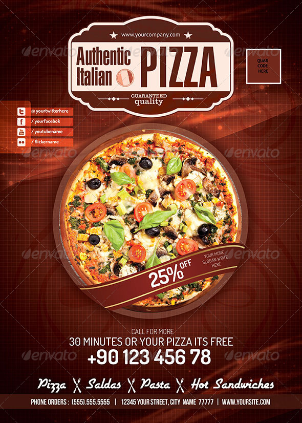 Pizza / Restaurant PSD flyer - Food Menus Print Templates