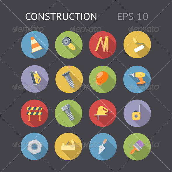 Flat Icons For Construction - Technology Icons