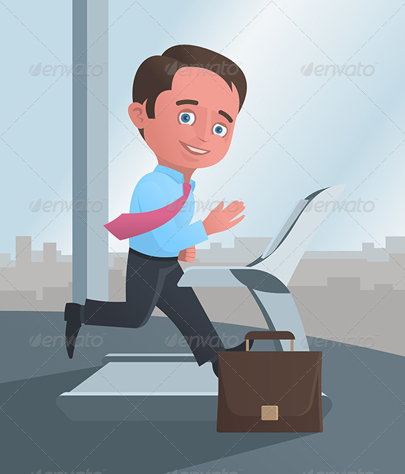 Businessman Running on a Treadmill - Sports/Activity Conceptual