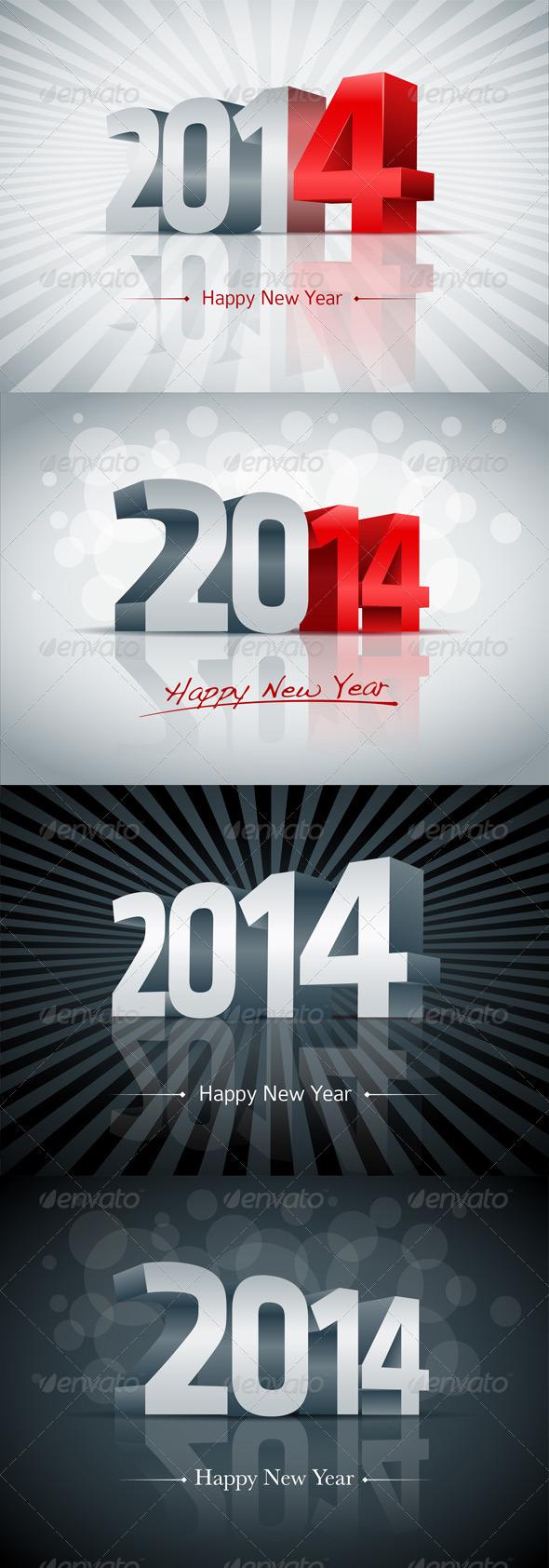 Year 2014 Greeting Card Set - New Year Seasons/Holidays
