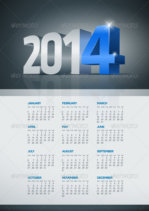 Year 2014 Calendar - New Year Seasons/Holidays
