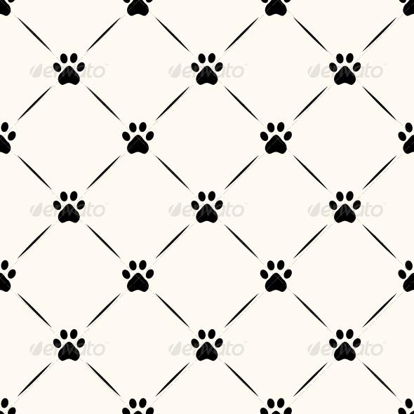 Seamless Animal Pattern of Paw Footprint.  - Patterns Decorative