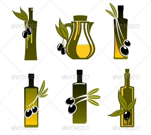 Bottles with Olive Oil - Food Objects