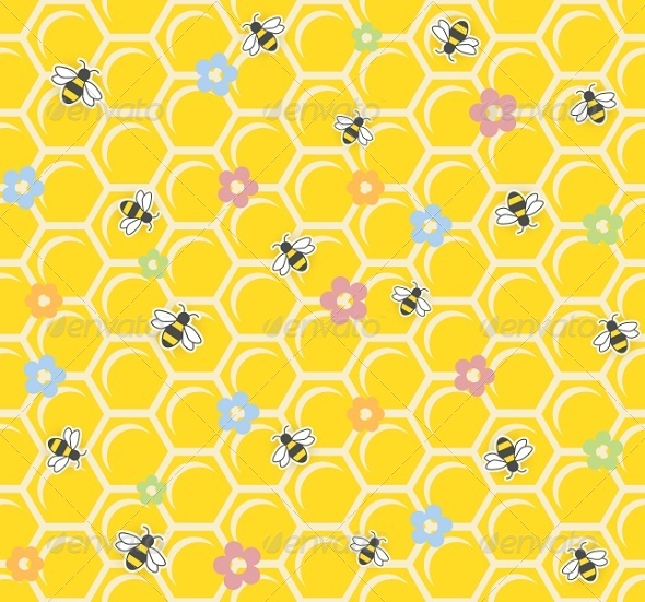 Bee on Honeycomb Seamless Pattern - Backgrounds Decorative