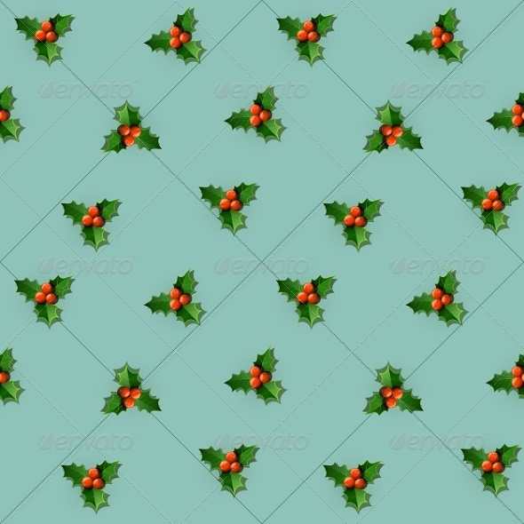 Seamless Holly Berry with Christmas Leaves - Backgrounds Decorative