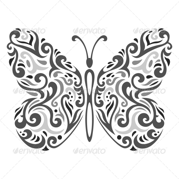 Abstract Mehndi Butterfly - Vector Illustration - Decorative Symbols Decorative