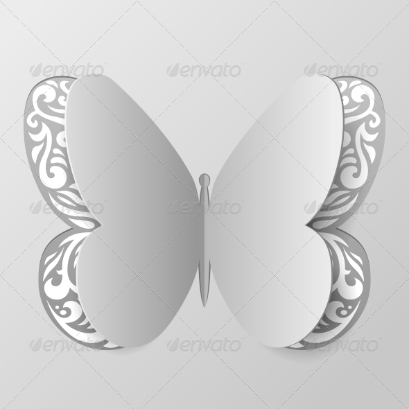 Abstract Paper Butterfly with Tribal Ornament - Flowers & Plants Nature
