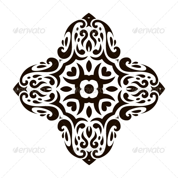 Abstract Vector Ornament in Tribal Style - Decorative Symbols Decorative