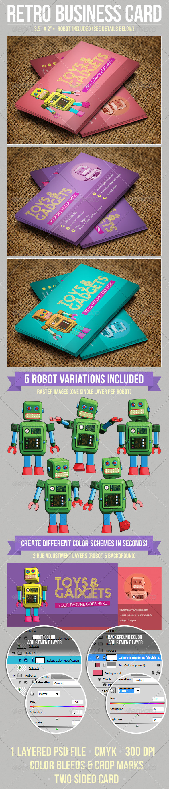 Retro Robot Business Card - Retro/Vintage Business Cards