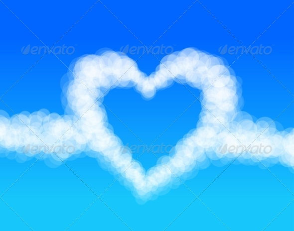 Cloud Heart on Sky Background Vector - Valentines Seasons/Holidays