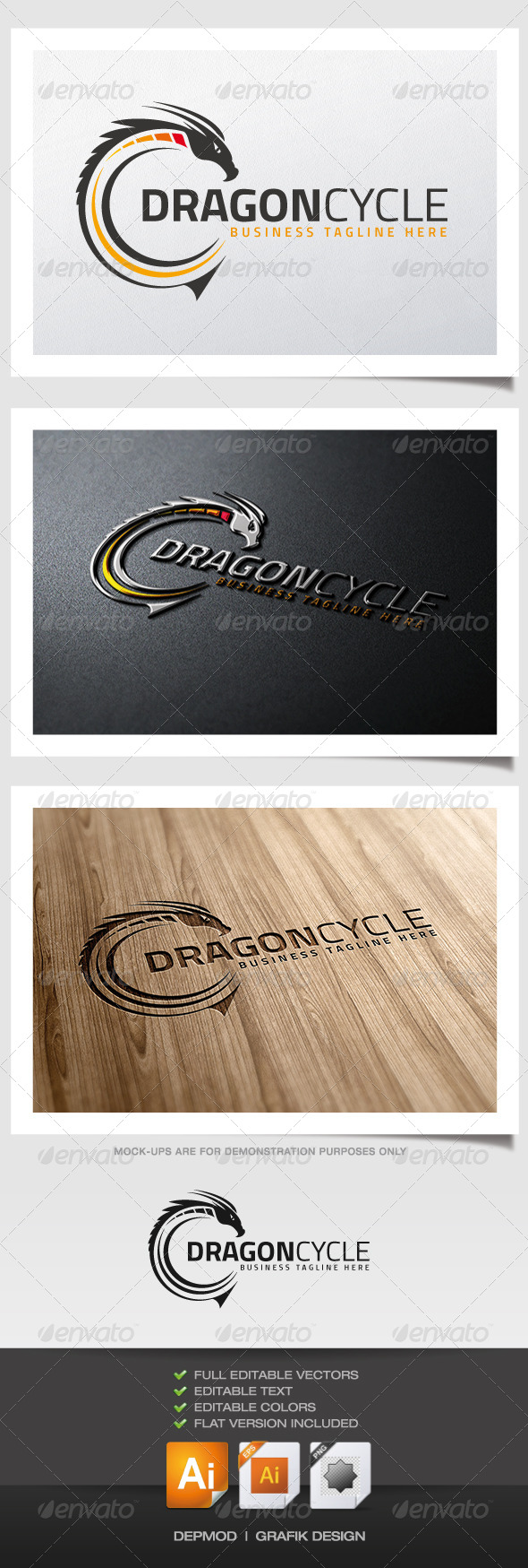 Dragon Cycle Logo - Symbols Logo Templates