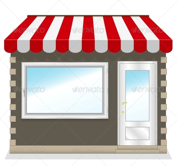 Shop Icon with Red Awnings - Retail Commercial / Shopping
