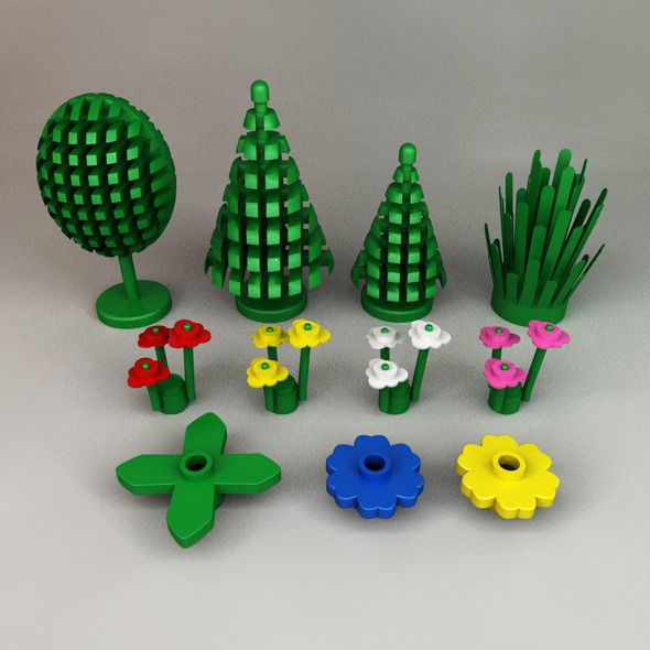 Lego Trees, Plants and Flowers - 3DOcean Item for Sale