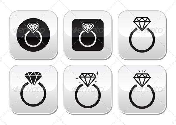 Diamond Engagement Ring Vector Buttons Set - Decorative Symbols Decorative