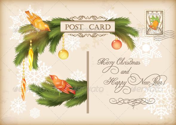 Christmas Vintage Holiday Vector Postcard  - Christmas Seasons/Holidays