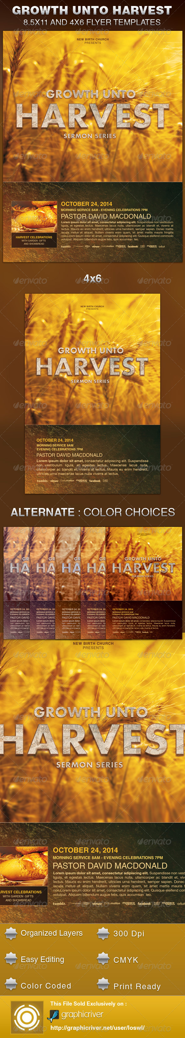 Growth unto Harvest Church Flyer Template - Church Flyers