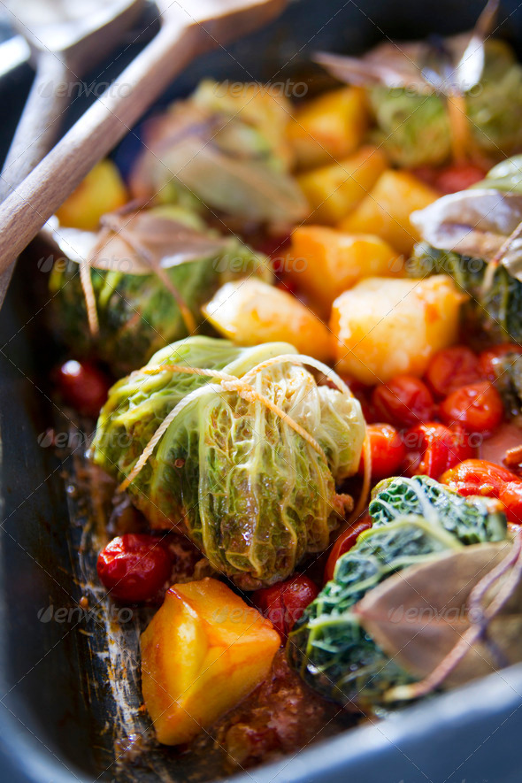 Meat Dumplings Baked In Cabbage Leaves - Stock Photo - Images