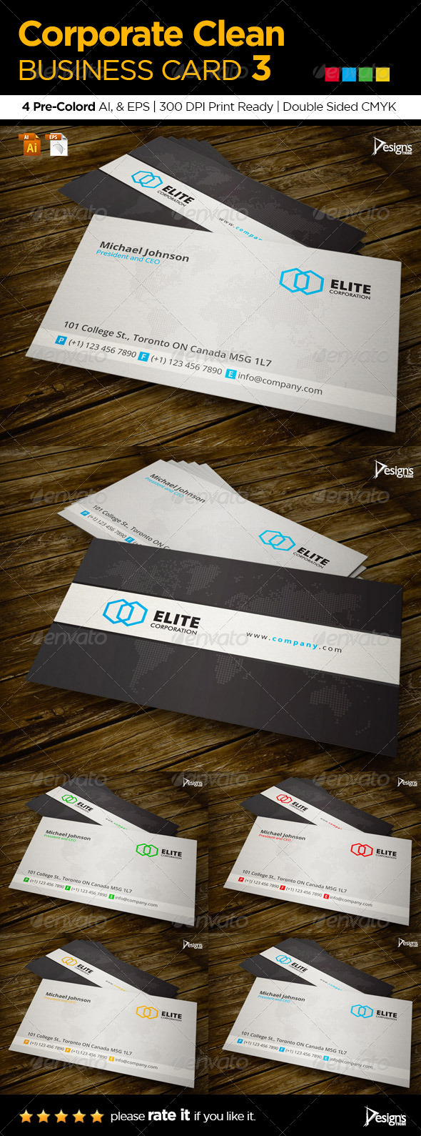 Corporate Clean Business Card 3 - Corporate Business Cards