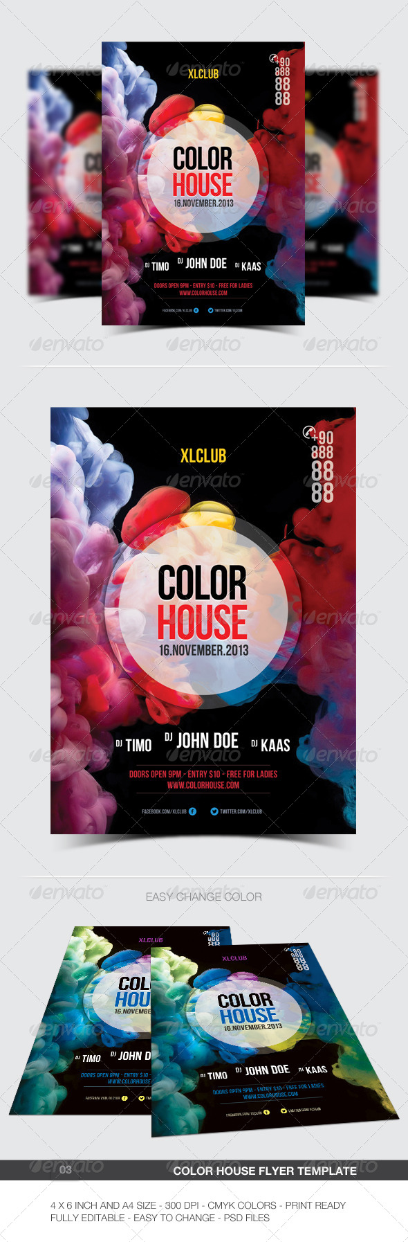 Color House Flyer/Poster - 03 - Clubs & Parties Events