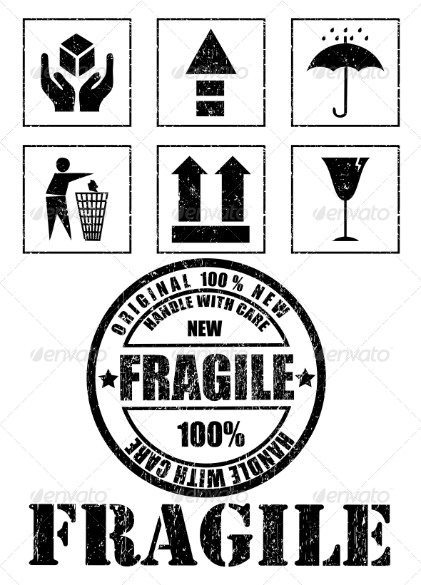 Safety Fragile Signs and Stamp Vector - Retail Commercial / Shopping