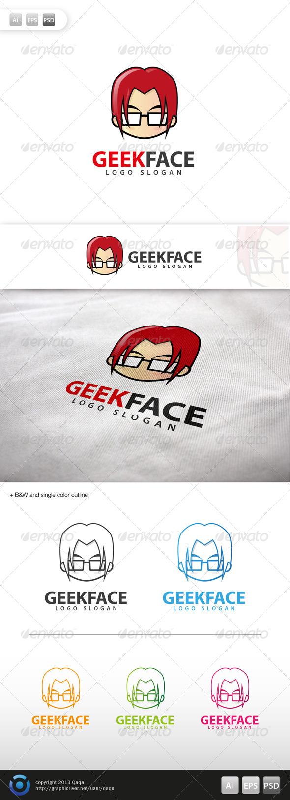 Geek Face Logo - 05 - Humans Logo Templates
