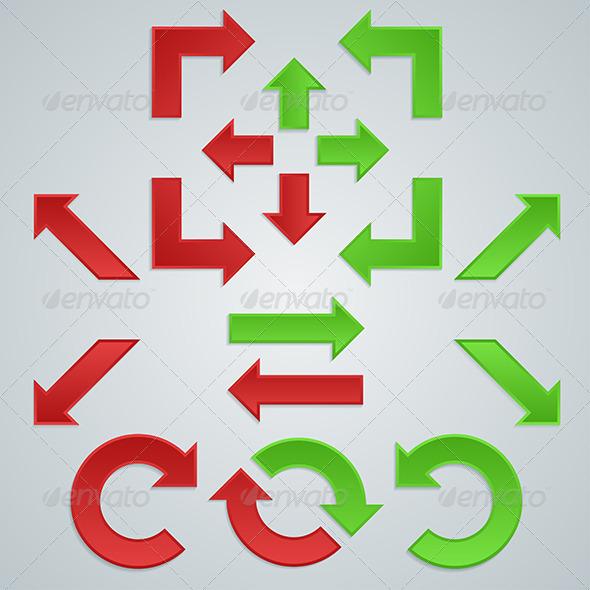 A Set of Colored Sharp Arrows for Infographics - Web Elements Vectors