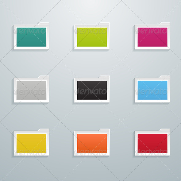 Set of Colored Flat Folders - Web Elements Vectors