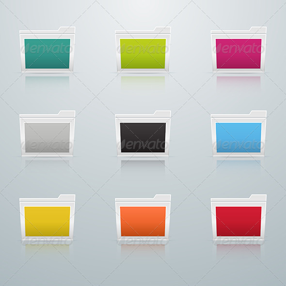 Set of Colored Folders in Perspective - Web Elements Vectors