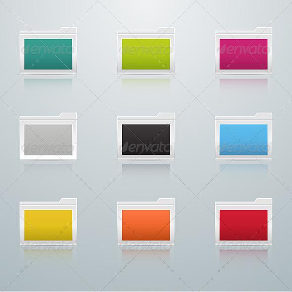 Set of Colored Folders - Web Elements Vectors