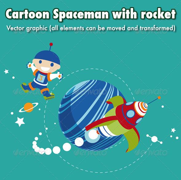 Cartoon Spaceman with Rocket - Characters Vectors