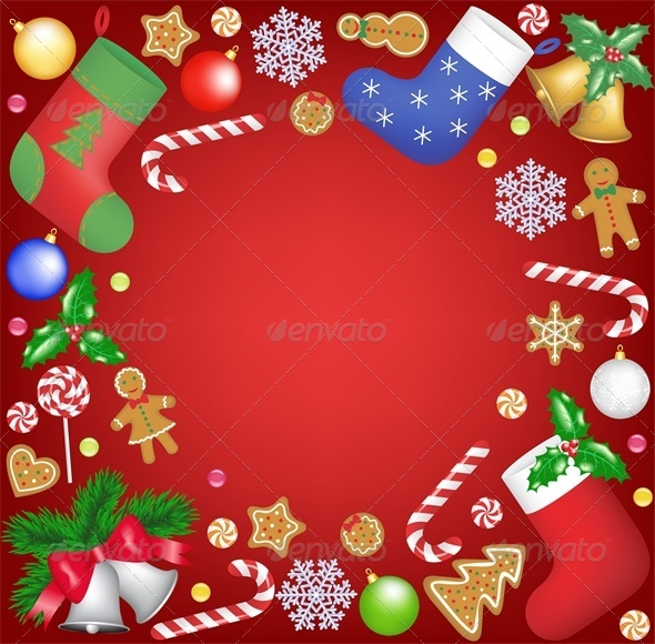 Christmas Decoration and Sweets Frame - Christmas Seasons/Holidays