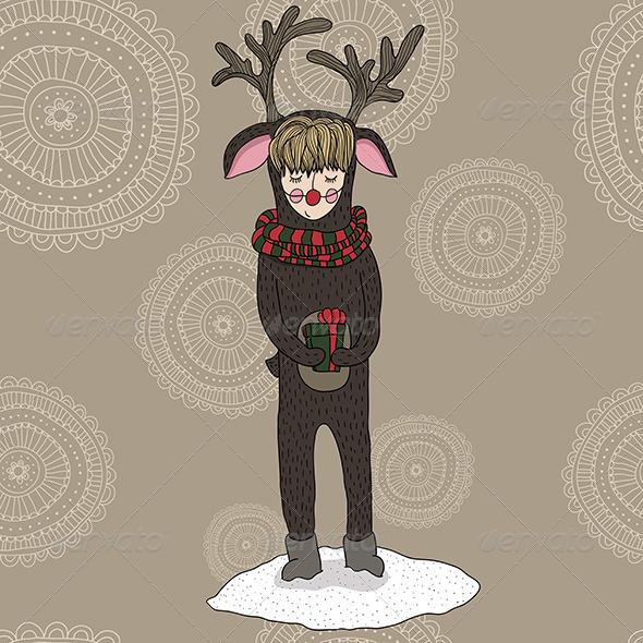 Girl in a Deer Costume - Christmas Seasons/Holidays