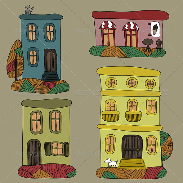 Set of Autumn Houses - Miscellaneous Conceptual