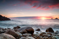 Sunset at Porth Nanven Cove in cornwall - PhotoDune Item for Sale