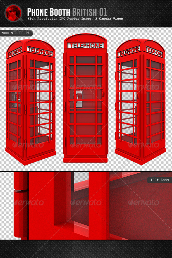 British Phone Booth 3D - Objects 3D Renders