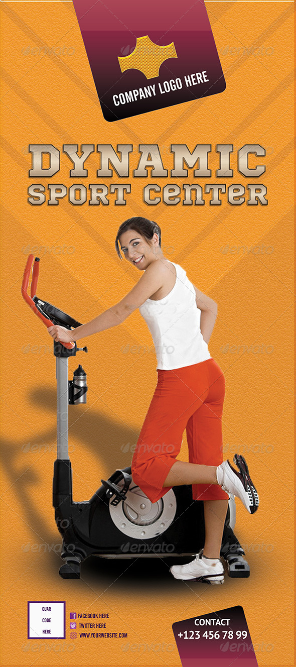 Sport Center Roll-Up Banner PSD - Signage Print Templates